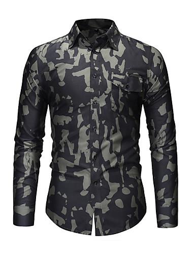 voordelige Herenoverhemden-Heren Print Overhemd camouflage blauw / Lange mouw