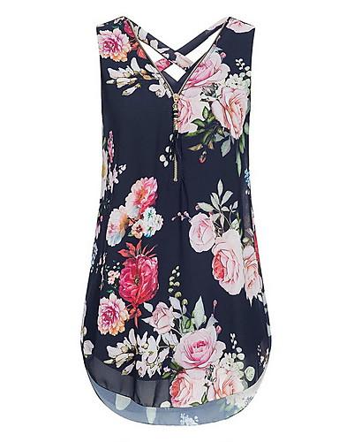 billige T-skjorter til damer-V-hals Store størrelser T-skjorte Dame - Blomstret, Kryss / Trykt mønster Gatemote Navyblå