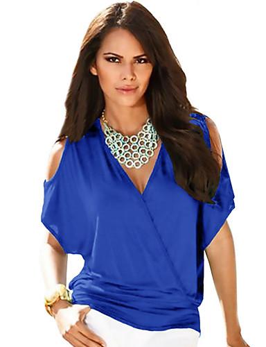 billige T-skjorter til damer-Dyp V T-skjorte Dame - Ensfarget Grunnleggende Svart