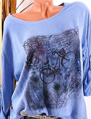 billige Dametopper-Store størrelser T-skjorte Dame - Grafisk, Trykt mønster Gatemote Rosa
