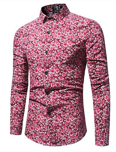 voordelige Herenoverhemden-Heren Vintage / Boho Print Grote maten - Overhemd Katoen Bloemen / Tribal Spread boord Paars / Lange mouw