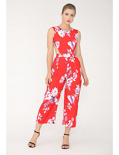 4f6c9e0896bcb3 Women's Daily Street chic Red Jumpsuit, Floral Backless M L XL Sleeveless  7143935 2019 – $27.02