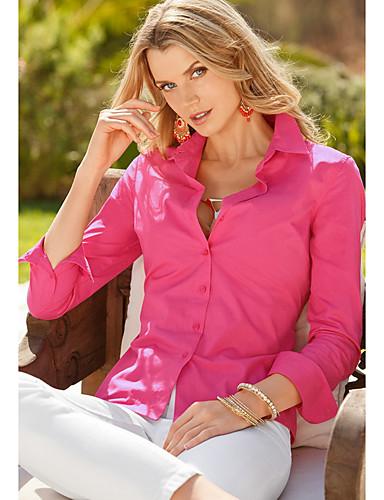 billige Dametopper-Skjortekrage Skjorte Dame - Ensfarget Rosa / Vår / Sommer / Høst / Vinter