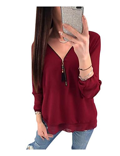 billige Skjorter til damer-V-hals Skjorte Dame - Ensfarget, Drapering / Chiffon / Glidelås Vin / Vår / Sommer / Høst / Vinter