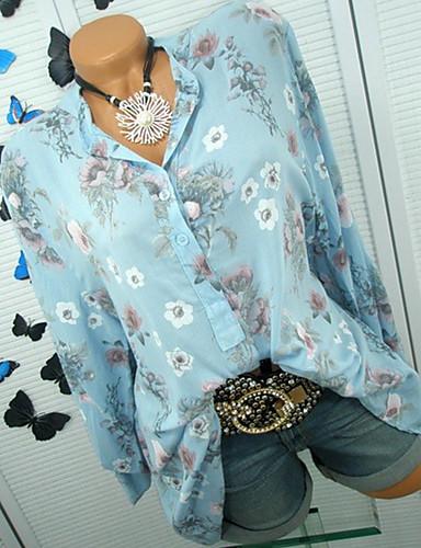 billige Skjorter til damer-V-hals Store størrelser Skjorte Dame - Geometrisk, Blomster Grunnleggende Gul / Vår / Sommer / Høst