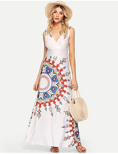 voordelige Maxi-jurken-Dames Slank A-lijn Jurk - Geometrisch, Print Diepe V-hals Maxi