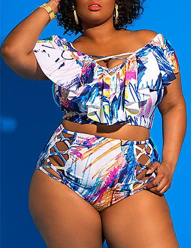 billige Bikinier og damemote-Dame Store størrelser Med stropper Blå Grønn Sjal Cheeky Bikinikjole Badetøy - Geometrisk Trykt mønster XXL XXXL XXXXL Blå