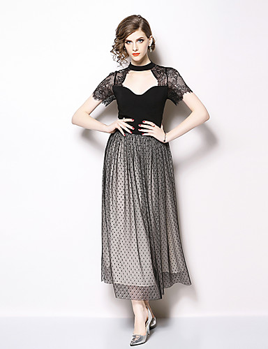 d7ad7b0df6c A-Line High Neck Ankle Length Chiffon   Lace Cut Out Formal Evening Dress  with Tier   Lace Insert by LAN TING Express   Illusion Sleeve 7123520 2019  – ...