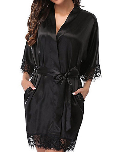 cheap Pajamas&Robes-Women's Lace Robes / Satin & Silk / Suits Nightwear Solid Colored Black White Red S M L/StayCation