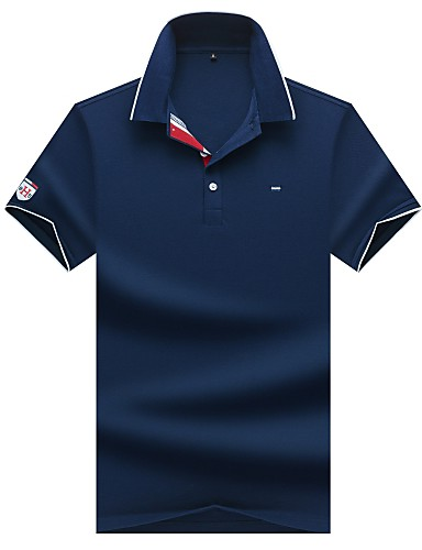 levne Pánská polo trika-Pánské - Jednobarevné Business Polo Bavlna Košilový límec Šedá / Krátký rukáv / Léto