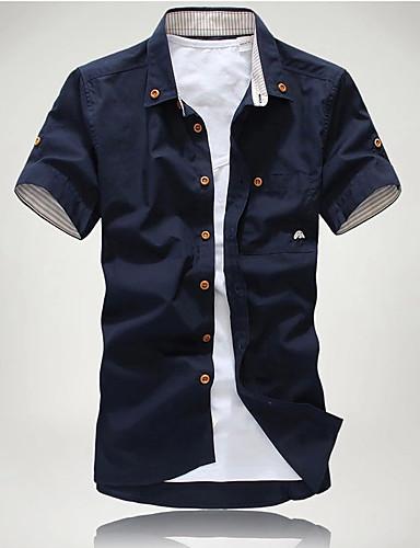 levne Pánské košile-Pánské - Jednobarevné Základní EU / US velikost Košile Bavlna Klasický límeček Štíhlý Bílá / Krátký rukáv / Podzim