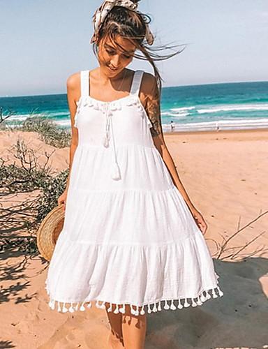 preiswerte Kleider für die Ferien-Damen Strand Boho Lose A-Linie Kleid - Quaste, Solide Knielang Gurt / Sexy