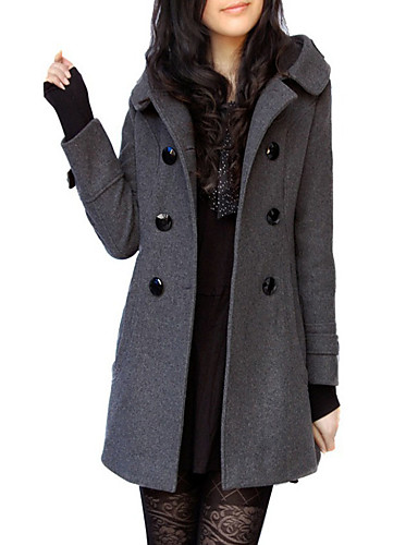 b5d9c408f7611f Women's Daily Fall / Winter Long Trench Coat, Solid Colored V Neck Long  Sleeve Wool