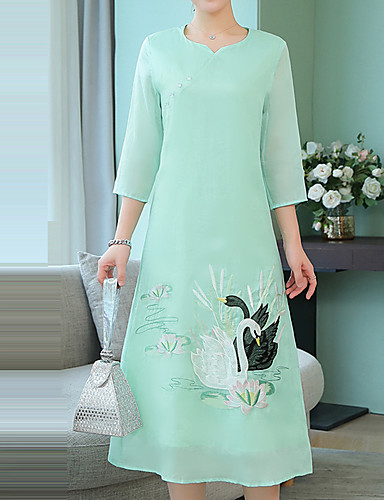 d1d4b01b0252 Women s Going out Vintage Chinoiserie Loose Swing Dress - Solid Colored  Rivet Split Patchwork Sweetheart Neckline Spring Silk Pink Light Green L XL  XXL ...