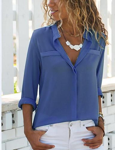 billige Skjorter til damer-Skjortekrage Skjorte Dame - Ensfarget, Chiffon Hvit