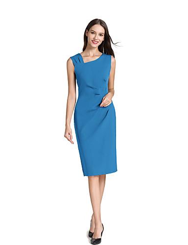 levne Pracovní šaty-Dámské Práce Štíhlý Shift Šaty - Jednobarevné Délka ke kolenům Dusty Rose