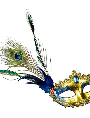 preiswerte Faschingskostüme-Feder Maske Venezianische Maske Maskenmaske Inspiriert von Prinzessin Cosplay Orange Fuchsie Sexy Halloween Karneval Maskerade Erwachsene Damen Weiblich / Federmaske / Halbe Maske