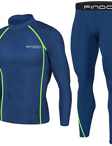 رخيصةأون ملابس الضغط-FINDCI رجالي Activewear مجموعة ملابس تجريب بدلة ضغط الشتاء ركض كرة السلة التدريب النشط خفة الوزن متنفس سريع جاف ملابس رياضية الأزرق الملكي أزرق غامق طبقة القاعدة قميص ضغط وسروال كم طويل ألبسة رياضية