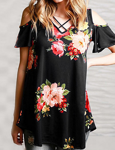 billige Dametopper-Tynn V-hals T-skjorte Dame - Blomstret Chic & Moderne Blå