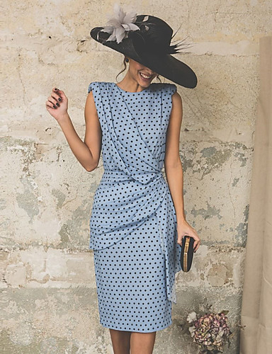 cheap Polka Dot Dresses-Women's Kentucky Derby Vintage Sheath Dress - Polka Dot Light Blue Blushing Pink S M L XL / Sexy