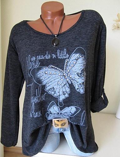 billige Dametopper-Store størrelser T-skjorte Dame - Ensfarget / Geometrisk, Blomster Grunnleggende Grå / Vår / Sommer / Høst