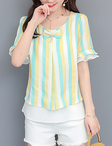 billige Topper til damer-T-skjorte Dame - Stripet / Blomstret, Sløyfe / Drapering / Trykt mønster Forretning / Gatemote Blå