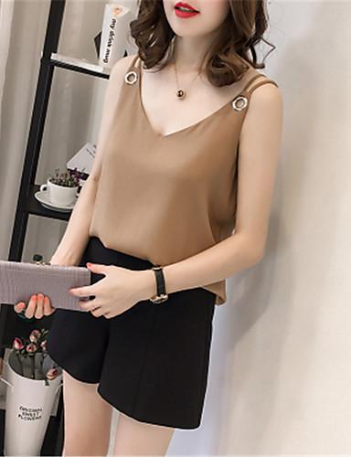 billige Dametopper-Tynn V-hals Store størrelser Singleter Dame - Ensfarget, Nagle / Blondér / Lapper Grunnleggende Hvit