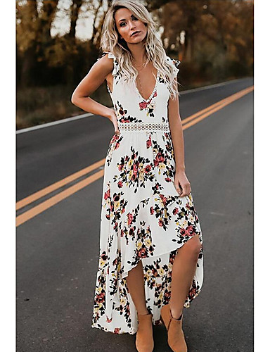 f5403e63e4 Mujer Fiesta Playa Vaina Vestido - Espalda al Aire Maxi Escote en V  Profunda   Sexy 7132188 2019 –  15.52