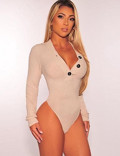 preiswerte Bodysuit-Damen Solide Bodysuit, Tiefes V Skinny Schwarz