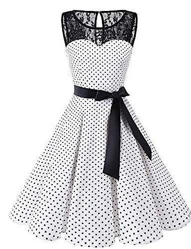 billige Kjoler til spesielle anledninger-Dame Store størrelser Kjole med A-linje Knelang kjole - Ermeløs Polkadotter Blonde 1950-tallet Daglig Hvit Svart S M L XL XXL XXXL XXXXL XXXXXL / Sexy