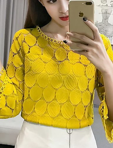 cheap Women's Blouses-2019 Hot Sale Blouses Women's Slim Blouse - Solid Colored Lace Blusas Mujer De Moda Roupa Feminina / Hollow White XL / Spring / Summer / Fall / Winter