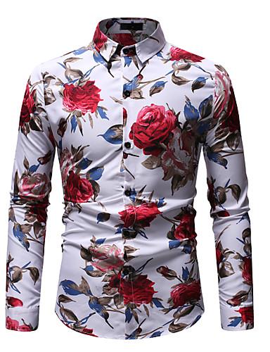 voordelige Herenoverhemden-Heren Boho / Street chic Print EU / VS maat - Overhemd Katoen, Club / Strand Grafisch Klassieke boord Wit / Lange mouw / Zomer