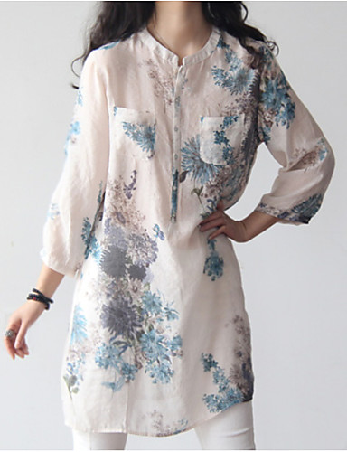 billige Dametopper-Bomull Tynn Skjorte Dame - Blomstret, Trykt mønster Hvit