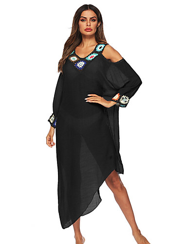 billige Dametopper-Dame Store størrelser Stikkende halslinje Blå Hvit Svart G-streng Dekke Opp Badetøy - Ensfarget En Størrelse Blå / Sexy