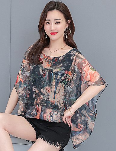 billige Dametopper-T-skjorte Dame - Blomstret / Geometrisk, Drapering / Trykt mønster Gatemote Svart
