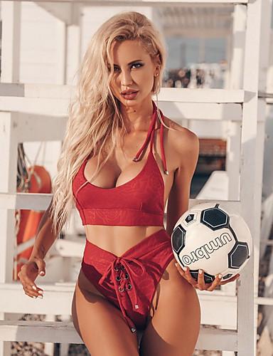 preiswerte Spaß am Strand!-Damen Halter Schwarz Rote Cheeky-Bikinihose Tankinis Bademode - Leopard S M L Schwarz / Sexy