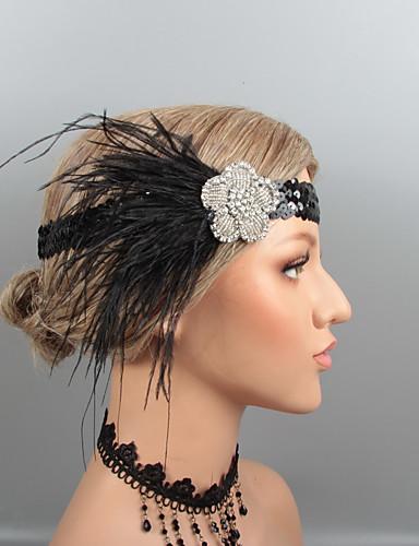 preiswerte Parykopfbedeckungen-Feder Stirnbänder / Kopfbedeckung mit Strass / Kristall / Feder 1 Stück Hochzeit / Party / Abend Kopfschmuck