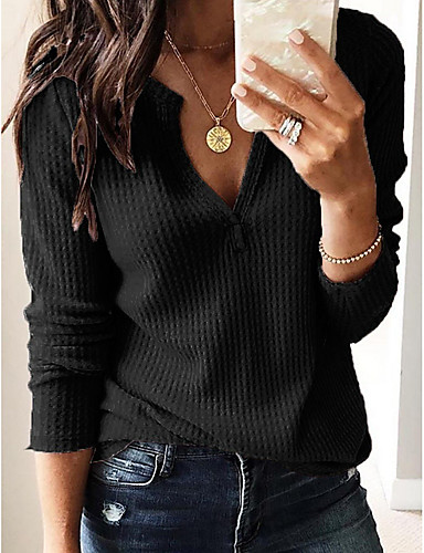 cheap Women's Blouses & Shirts-Women's Daily Blouse Shirt Solid Colored Plain Long Sleeve Tops Streetwear V Neck White Black Wine