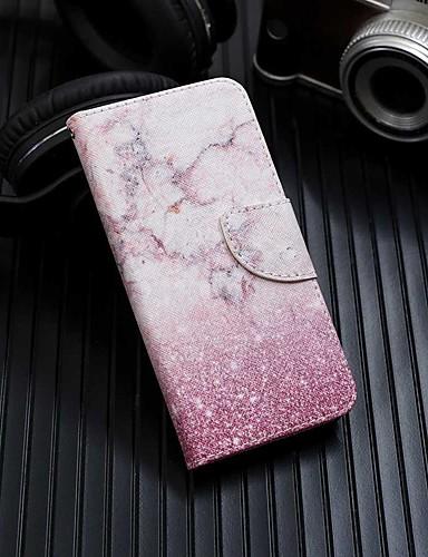 Capinha Para Samsung Galaxy Galaxy A7(2018) / Galáxia A10 (2019) / Galaxy A30 (2019) Carteira / Porta-Cartão / Com Suporte Capa Proteção Completa Mármore PU Leather