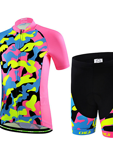 cheap Cycling-cheji® Boys' Girls' Short Sleeve Cycling Jersey with Shorts - Kid's Summer Lycra Pink+Green Green / Yellow Bike Bib Shorts Clothing Suit Quick Dry Breathable Back Pocket Sports Patterned Mountain