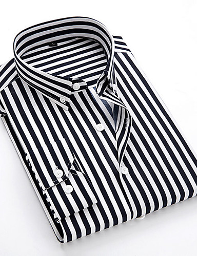 cheap 11.11 - Print Men's Shirts Best Sale-Men's Daily EU / US Size Shirt - Striped Classic Collar Black / Long Sleeve