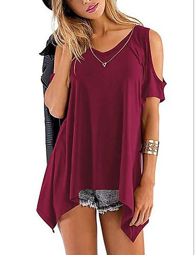 billige Dametopper-V-hals T-skjorte Dame - Ensfarget, Drapering / Løse skuldre Vin / Vår / Sommer / Høst