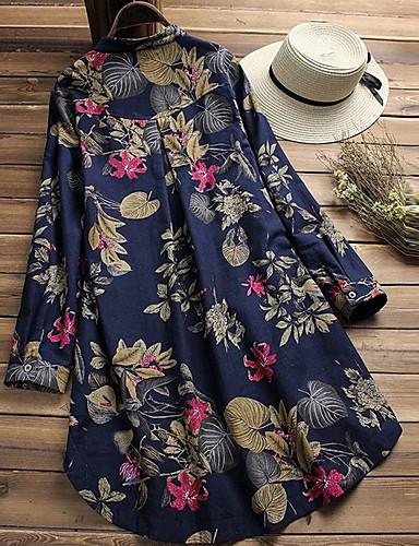 billige Skjorter til damer-Bomull Løstsittende Høy krage Store størrelser Skjorte Dame - Geometrisk Blå