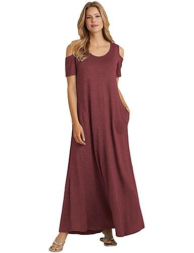 levne Maxi šaty-Dámské Elegantní Vypasovaný Shift Šaty - Jednobarevné Maxi Vysoký pas / Sexy