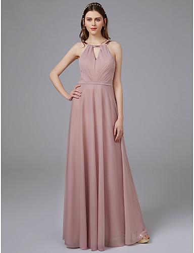 preiswerte Staubige Rose-A-Linie Schmuck Boden-Länge Gitter Brautjungfernkleid mit Schärpe / Band durch LAN TING BRIDE® / Strahlend & Funkelnd