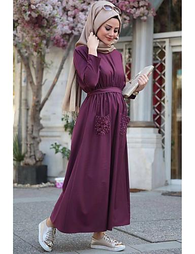 levne Maxi šaty-Dámské Dovolená Cikánský Elegantní Volné Abaya kaftan Šaty - Jednobarevné, Nabírané šaty Maxi Vysoký pas