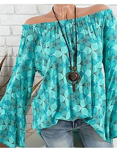 billige Dametopper-Løse skuldre Store størrelser T-skjorte Dame - Blomstret, Trykt mønster Rosa