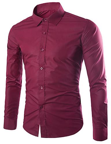 levne Pánské košile-Pánské - Jednobarevné Práce Business / Základní EU / US velikost Košile Bavlna Klasický límeček Štíhlý Černá / Dlouhý rukáv / Podzim