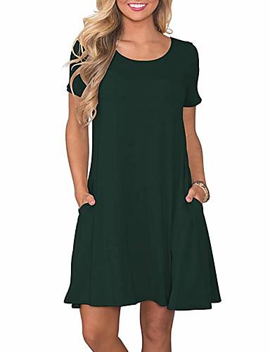 preiswerte Sommerkleider-Damen Grundlegend Hülle Kleid Solide Übers Knie Hohe Taillenlinie / Sexy