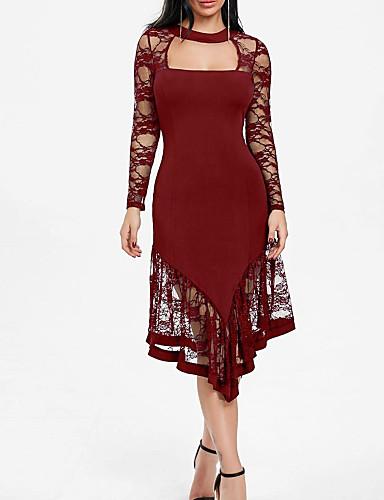 0a96918729b7 Γυναικεία Μεγάλα Μεγέθη Πάρτι Βασικό Λεπτό Θήκη Φόρεμα - Μονόχρωμο ...